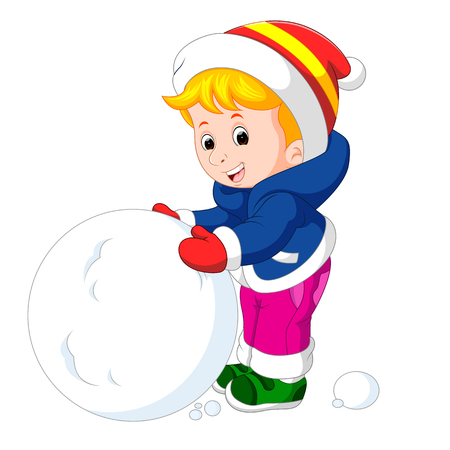 cartoon kids playing with snow