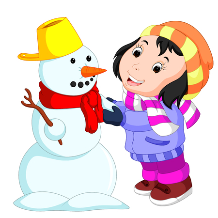 cartoon kids playing with snowman Stock Photo