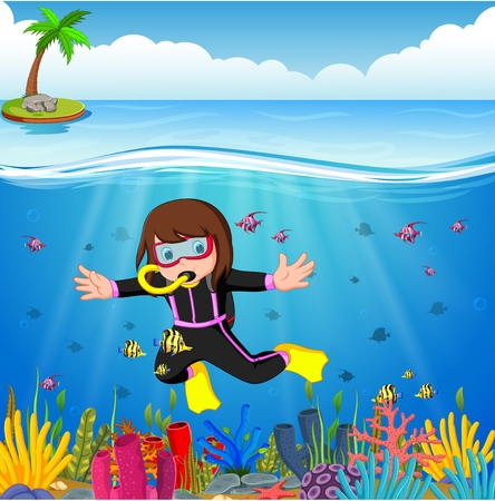 Cartoon girl diving in the sea