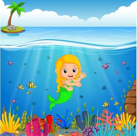 Cartoon mermaid underwater Stock Photo