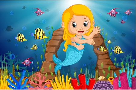 Cartoon mermaid underwater Stock Photo