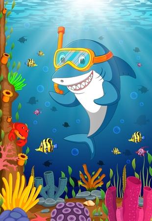 Cartoon haai onder de zee
