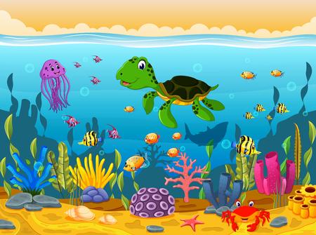 Cartoon schildpad onderwater Stockfoto