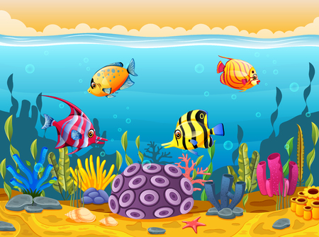 Cute fish cartoon in the sea Banco de Imagens