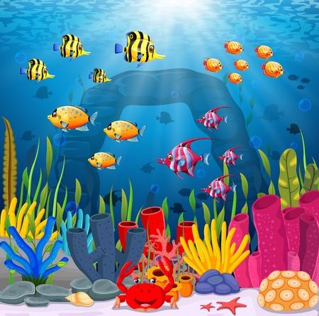 Cute fish cartoon in the sea Banco de Imagens