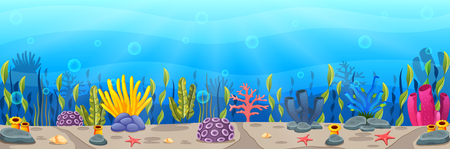 Underwater scene with tropical coral reef