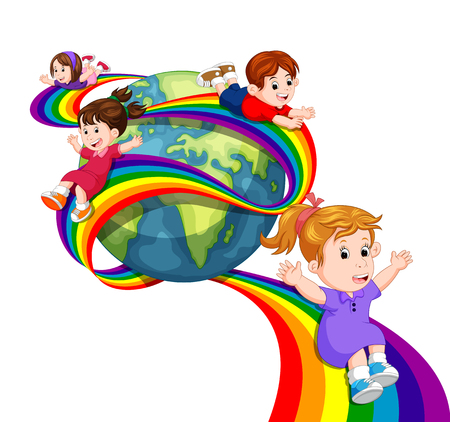 Kids sliding on rainbow in sky
