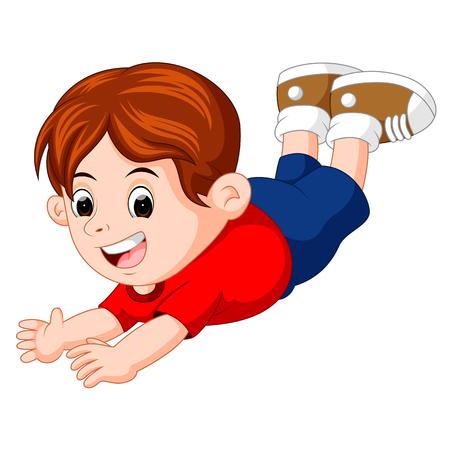 Cartoon happy kids pose flying