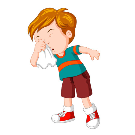 Mały chłopiec mocno kicha Ilustracje wektorowe