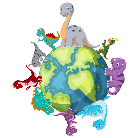 Dinosaurs standing around the world Vector illustration. Illustration
