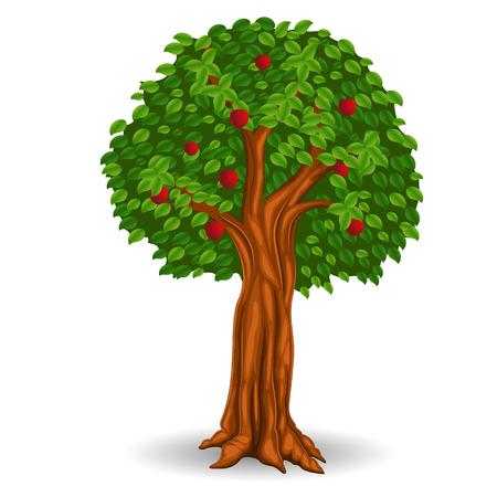 Red apple tree in the field Vector illustration. Иллюстрация