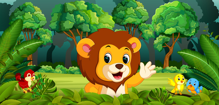 Lion in the forest Vector illustration.