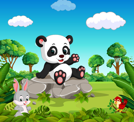 Panda in the forest Ilustrace