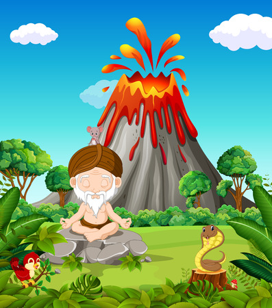 Old man doing meditation in the mountain Illustration