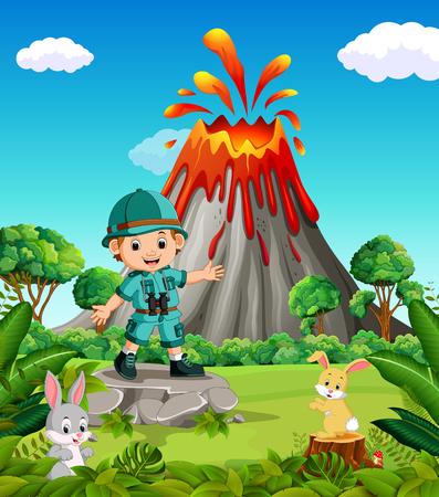 adventurer in the mountain Illustration
