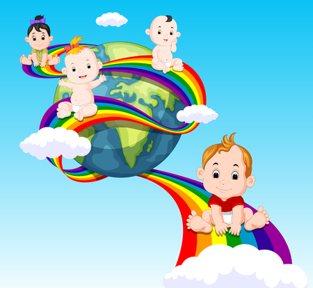 cute baby sliding on rainbow in sky