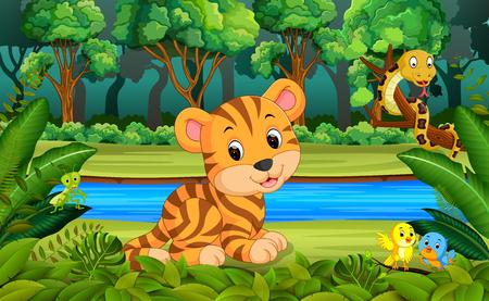 Tigre en el bosque Foto de archivo - 92264505