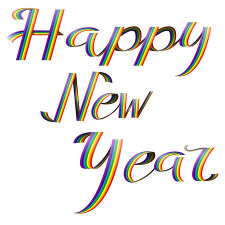 Happy New Year on rainbow Vector illustration.