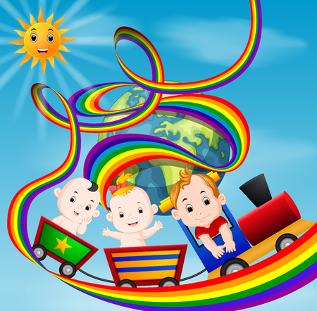 Cute baby and train on the rainbow