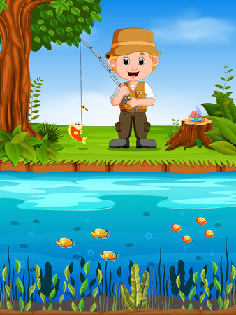 Fisherman fishing in a river Ilustração
