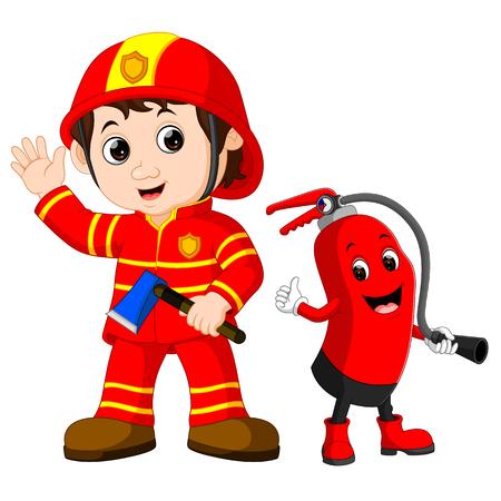 Redding brandweerman man houdt ijzeren bijl en brandblusser cartoon