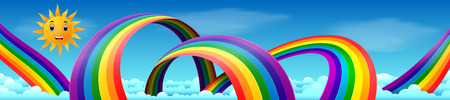Rainbow with skies and sun Illustration