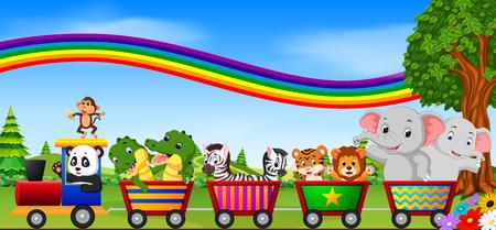 wild animals on the train with rainbow illustration