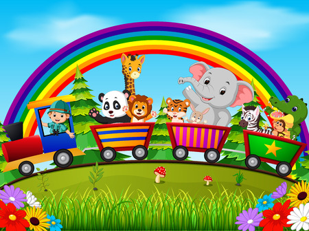 adventurer and wild animals on the train with rainbow illustration