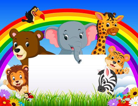 cartoon dier met blanksign en regenboog Stock Illustratie