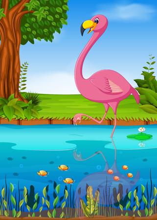 Crane bird in the river in colorful illustration. Illustration