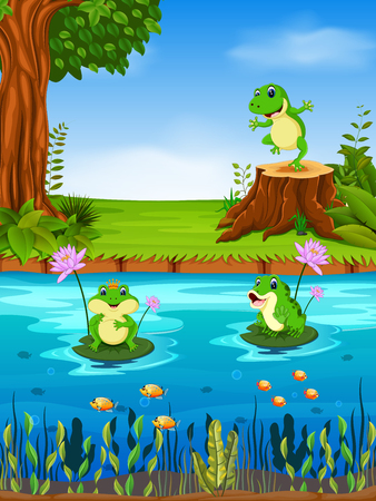 Frog swimming in the river in colorful illustration.