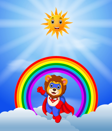 Superhero lion on the skies in colorful illustration.