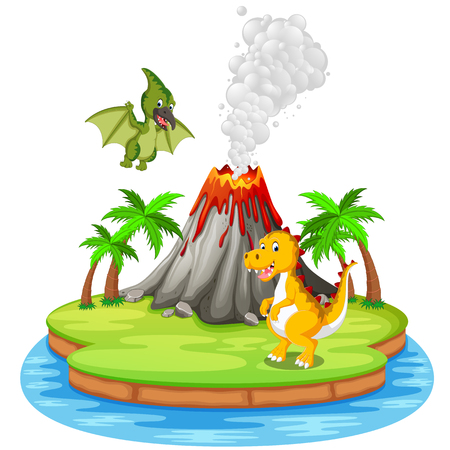 Dinosaur and volcano eruption  in colorful illustration. Vectores
