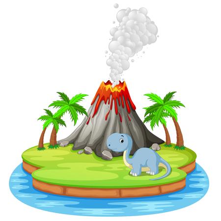 Dinosaur and volcano eruption  in colorful illustration. Illustration