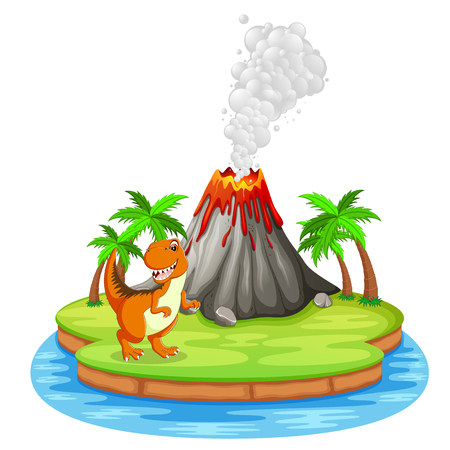 Dinosaur and volcano eruption illustration Vectores