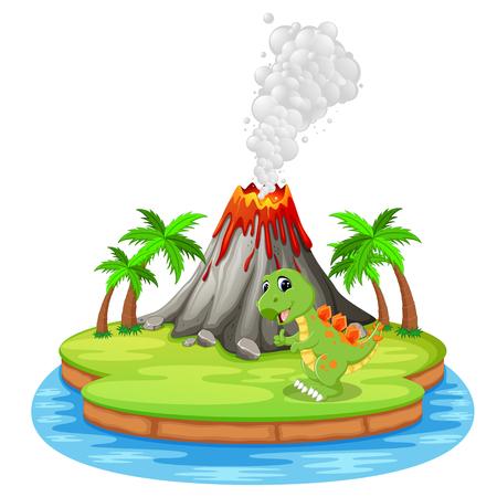 Dinosaur and volcano eruption illustration Illustration