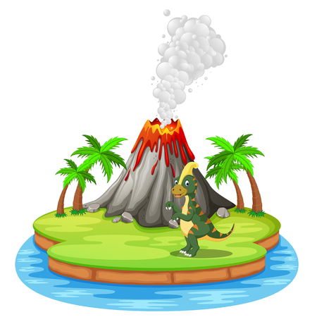 Dinosaur and volcano eruption illustration Illustration