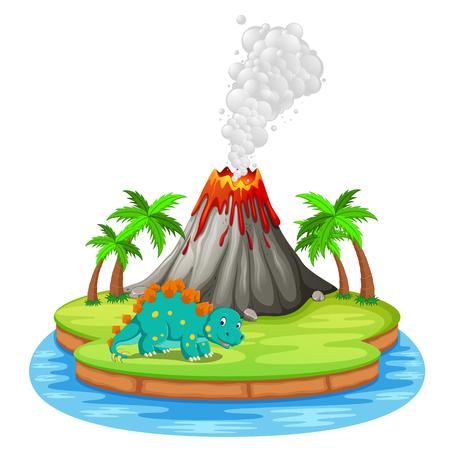 Dinosaur and volcano eruption illustration  イラスト・ベクター素材