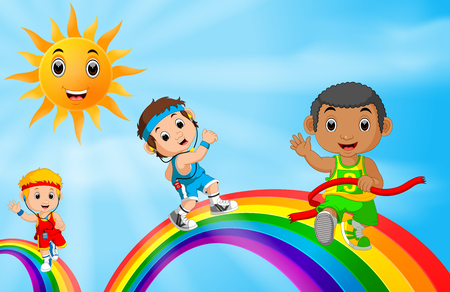 Children sport running over the rainbow Illustration