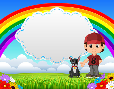 Cute boy with dog in the park on rainbow day vector illustration 일러스트
