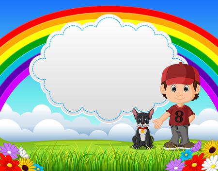 Cute boy with dog in the park on rainbow day vector illustration Ilustração