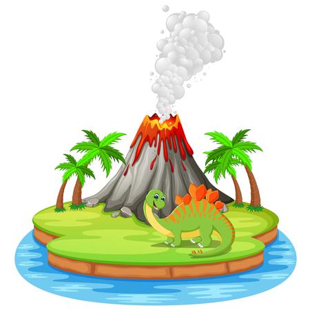 Dinosaur and volcano erupting vector illustration