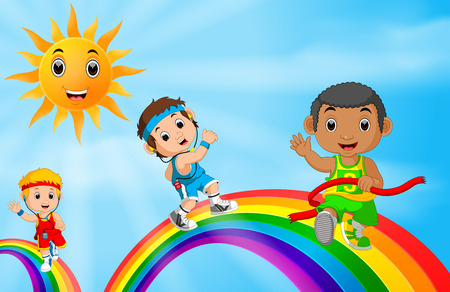 Children sport running over the rainbow Stock Photo