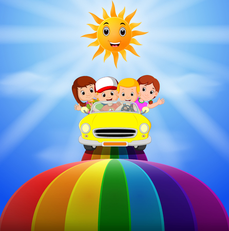 the kids riding on a vehicle passing through the rainbow