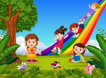 Cartoon kids sliding down the rainbow
