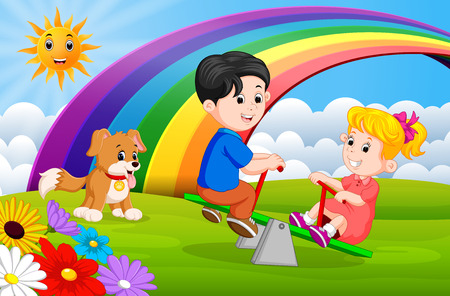 Two Children and dogs playing seesaw in the park on rainbow day