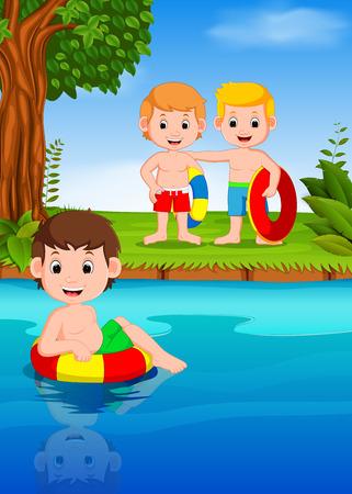 Children swimming in the river 版權商用圖片