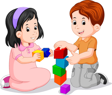 Children playing with cube Stock Photo