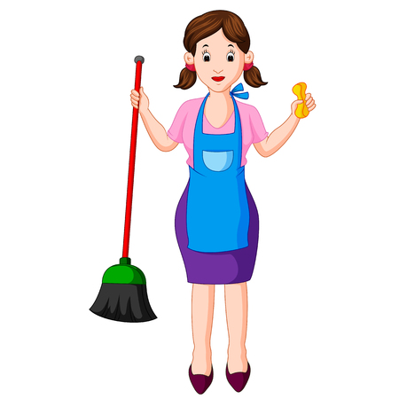 young housewife with broom Stock Photo