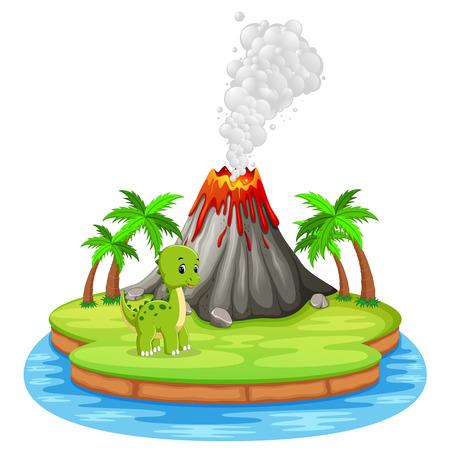 Dinosaur and volcano eruption illustration Stock Photo